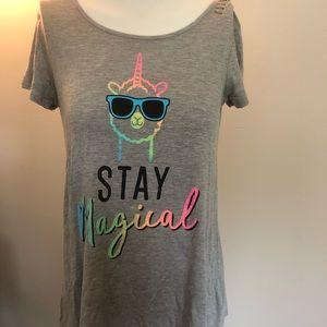"Justice ""Stay Magical"" unicorn llama rainbow tee"